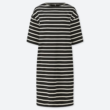 WOMEN STRIPED BOAT NECK HALF-SLEEVE DRESS (ONLINE EXCLUSIVE), BLACK, medium