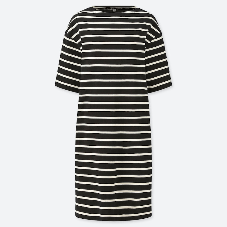 WOMEN STRIPED BOAT NECK HALF-SLEEVE DRESS (ONLINE EXCLUSIVE), BLACK, large