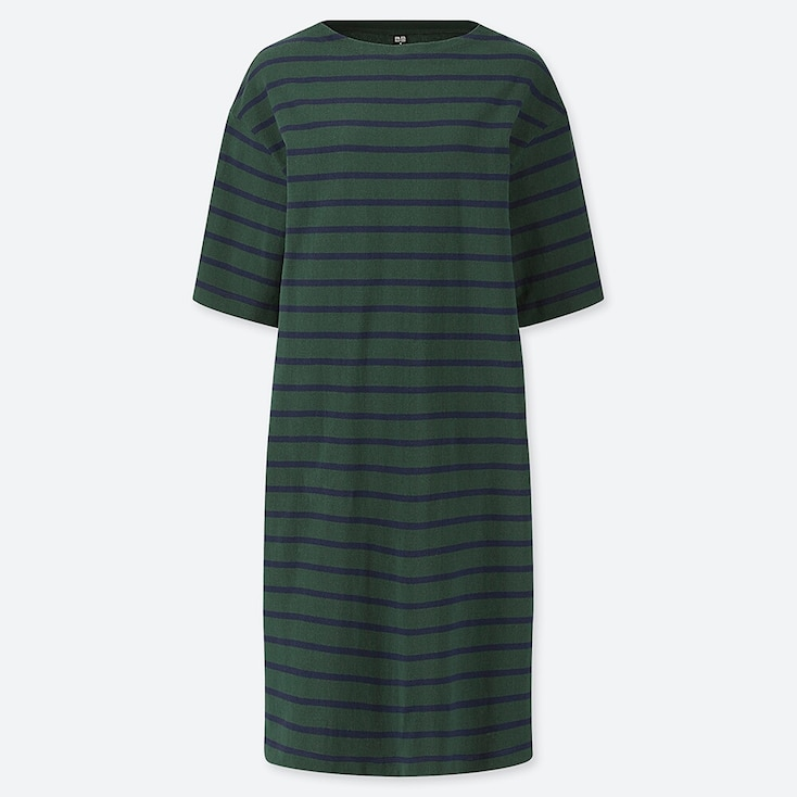 WOMEN STRIPED BOAT NECK HALF-SLEEVE DRESS (ONLINE EXCLUSIVE), DARK GREEN, large