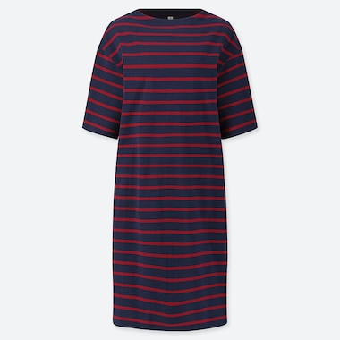 WOMEN STRIPED BOAT NECK HALF-SLEEVE DRESS (ONLINE EXCLUSIVE), NAVY, medium