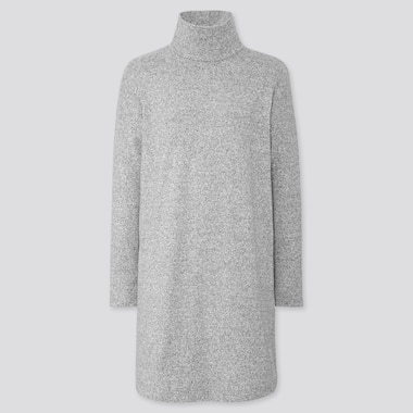 WOMEN SOFT KNITTED FLEECE LONG-SLEEVE DRESS, GRAY, medium