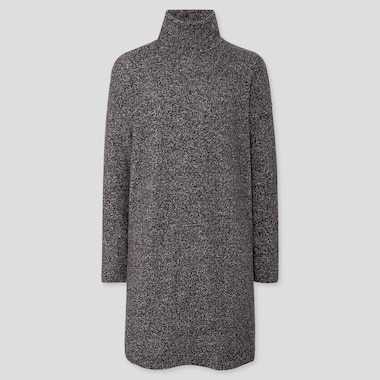 Women Soft Knitted Fleece Long-Sleeve Dress, Dark Gray, Medium