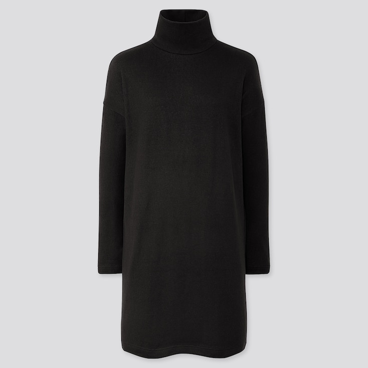 WOMEN SOFT KNITTED FLEECE LONG-SLEEVE DRESS, BLACK, large