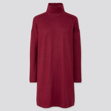 WOMEN SOFT KNITTED FLEECE LONG-SLEEVE DRESS, RED, medium