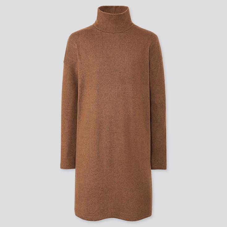 WOMEN SOFT KNITTED FLEECE LONG-SLEEVE DRESS, BROWN, large