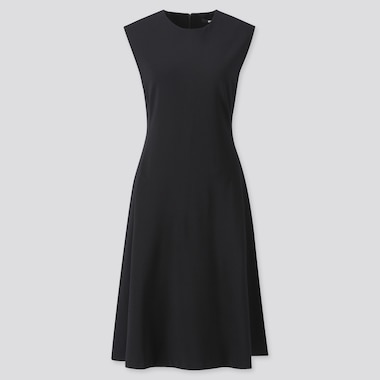 WOMEN PONTE SLEEVELESS DRESS, BLACK, medium