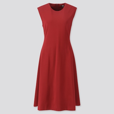 WOMEN PONTE SLEEVELESS DRESS, RED, medium