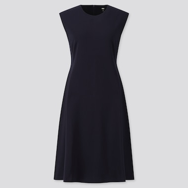 WOMEN PONTE SLEEVELESS DRESS, NAVY, medium