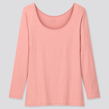 WOMEN HEATTECH SCOOP NECK LONG-SLEEVE T-SHIRT, PINK, medium