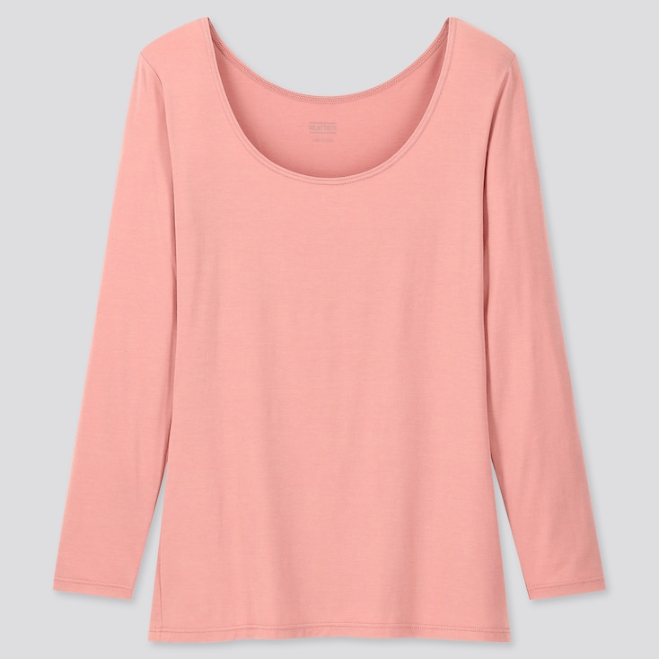 WOMEN HEATTECH SCOOP NECK LONG-SLEEVE T-SHIRT, PINK, large