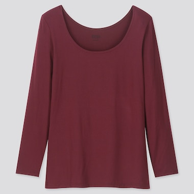 Women Heattech Scoop Neck Long-Sleeve T-Shirt, Wine, Medium