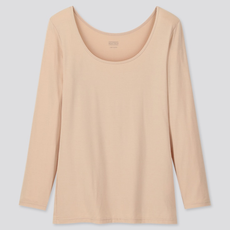 WOMEN HEATTECH SCOOP NECK LONG-SLEEVE T-SHIRT, BEIGE, large