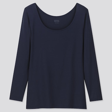 Women Heattech Scoop Neck Long-Sleeve T-Shirt, Navy, Medium