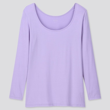 Women Heattech Scoop Neck Long-Sleeve T-Shirt, Purple, Medium