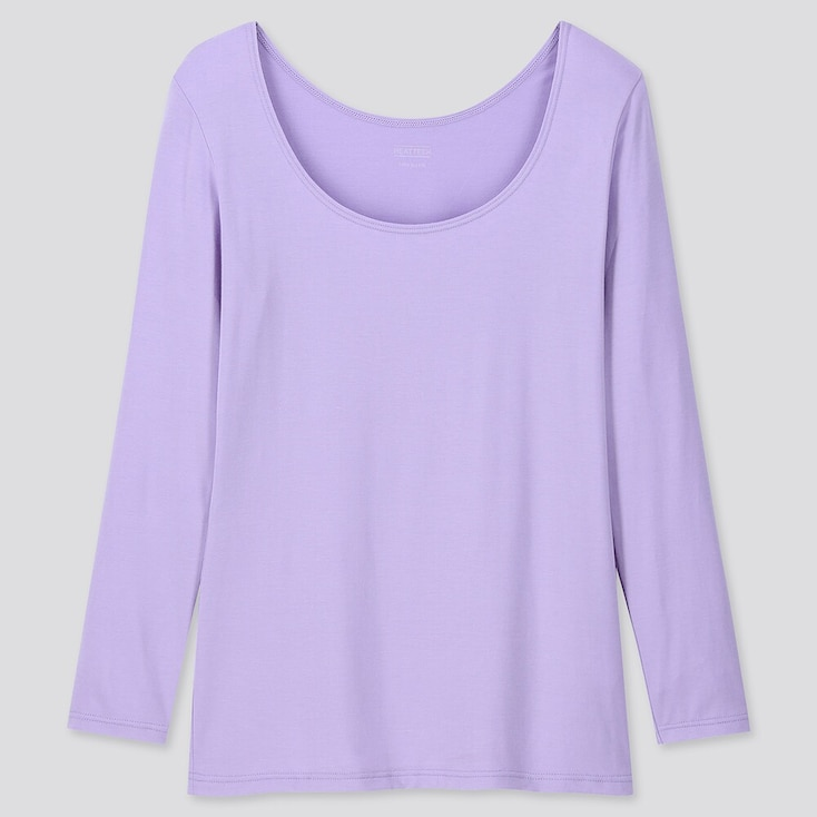 WOMEN HEATTECH SCOOP NECK LONG-SLEEVE T-SHIRT, PURPLE, large