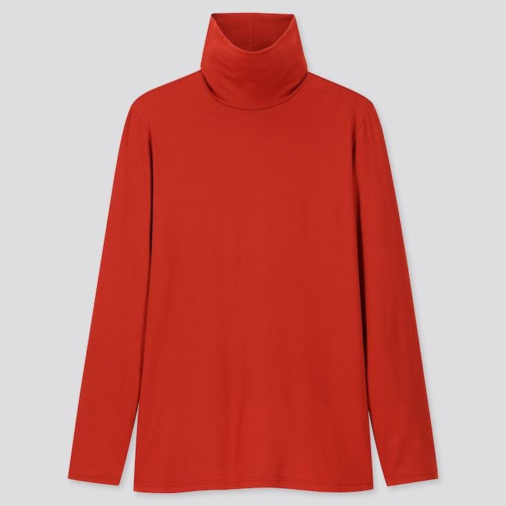 Women Heattech Turtleneck Long-sleeve T-shirt, Dark Orange, Large