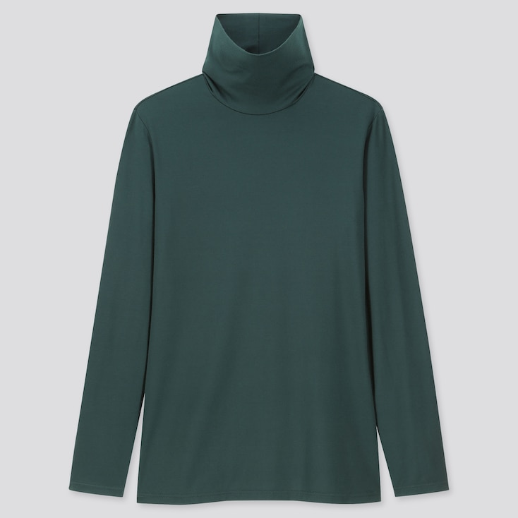 WOMEN HEATTECH TURTLENECK LONG-SLEEVE T-SHIRT, DARK GREEN, large
