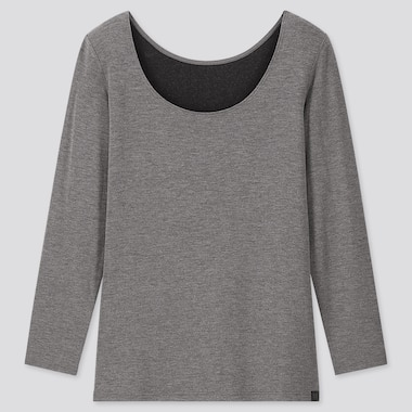 Women Heattech Extra Warm Scoop Neck T-Shirt, Dark Gray, Medium