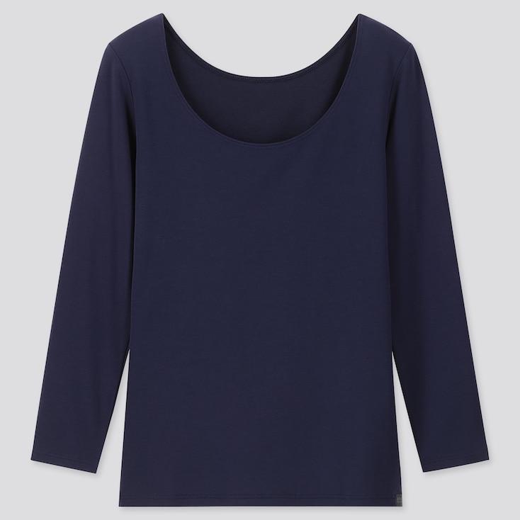 WOMEN HEATTECH EXTRA WARM SCOOP NECK T-SHIRT, NAVY, large