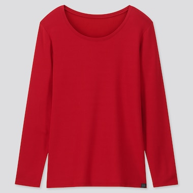 WOMEN HEATTECH EXTRA WARM CREW NECK T-SHIRT, RED, medium