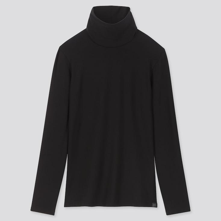 WOMEN HEATTECH EXTRA WARM TURTLENECK T-SHIRT, BLACK, large