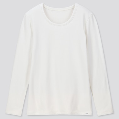 Women Heattech Ultra Warm Crew Neck T-Shirt, Off White, Medium