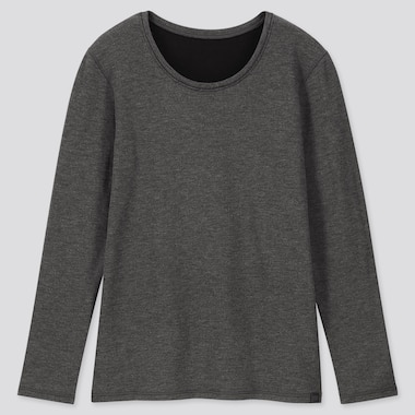 WOMEN HEATTECH ULTRA WARM CREW NECK T-SHIRT, DARK GRAY, medium