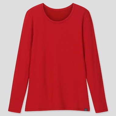 WOMEN HEATTECH ULTRA WARM CREW NECK T-SHIRT, RED, medium