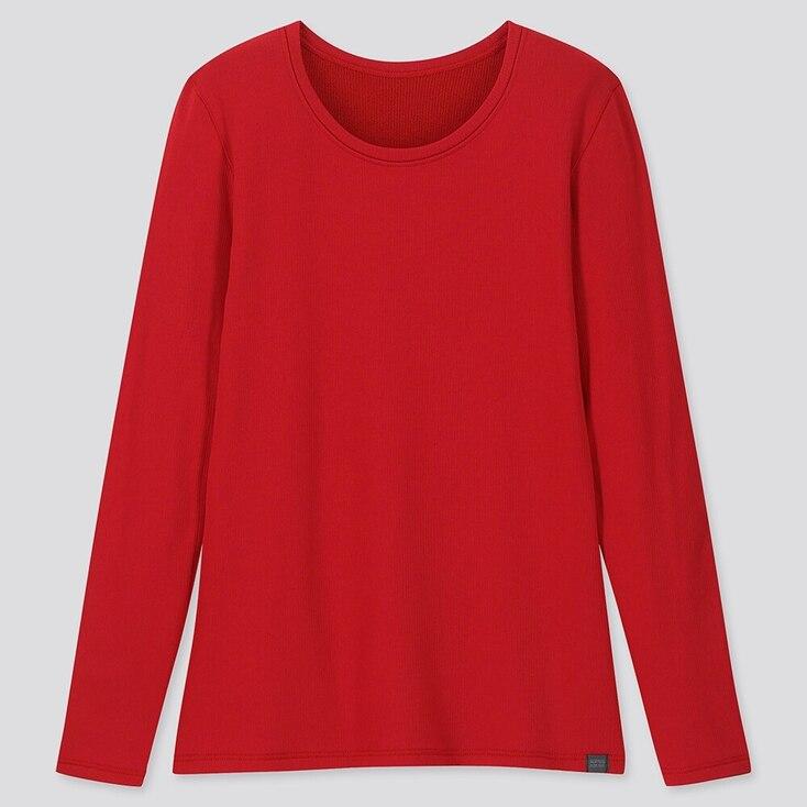 Women Heattech Ultra Warm Crew Neck T-Shirt, Red, Large