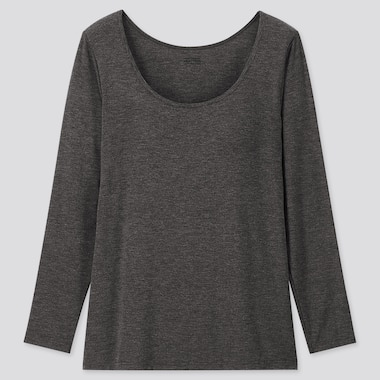 WOMEN HEATTECH BRA SCOOP NECK LONG-SLEEVE T-SHIRT, DARK GRAY, medium
