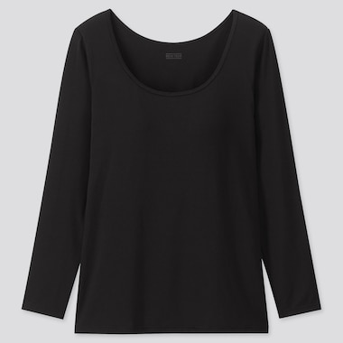 WOMEN HEATTECH BRA SCOOP NECK LONG-SLEEVE T-SHIRT, BLACK, medium