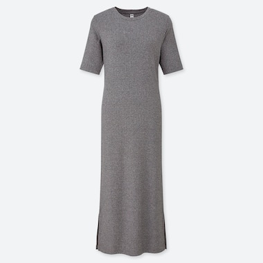 WOMEN RIBBED CREW NECK HALF SLEEVED MAXI DRESS