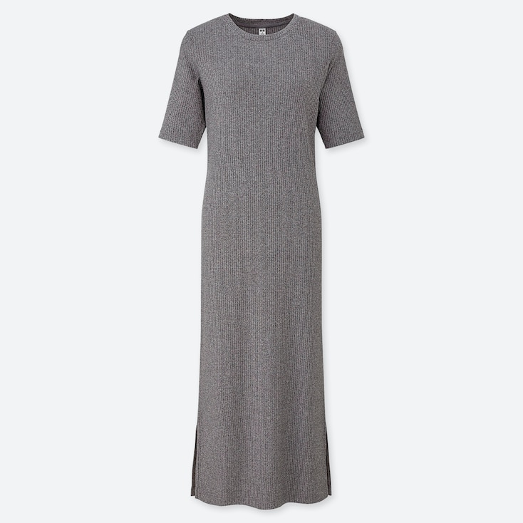 WOMEN RIBBED CREW NECK HALF-SLEEVE LONG DRESS, GRAY, large