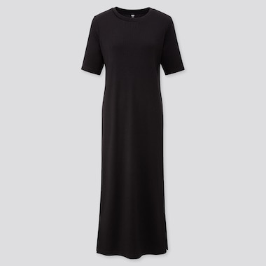 a8f40023 WOMEN RIBBED CREW NECK HALF SLEEVED MAXI DRESS