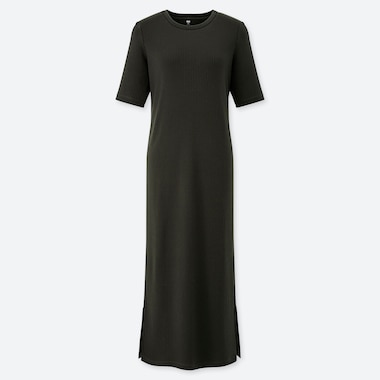 WOMEN RIBBED CREW NECK HALF-SLEEVE LONG DRESS, DARK GREEN, medium