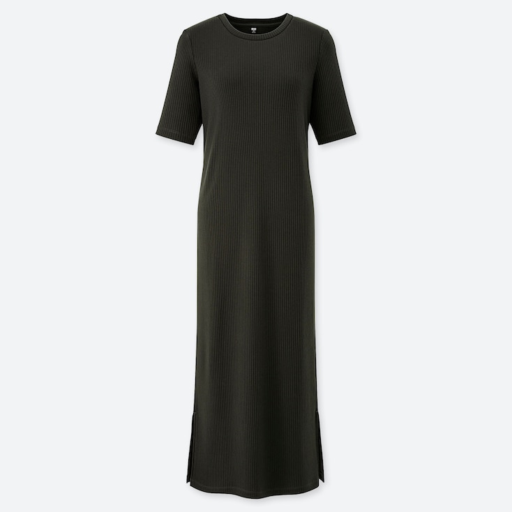 WOMEN RIBBED CREW NECK HALF-SLEEVE LONG DRESS, DARK GREEN, large