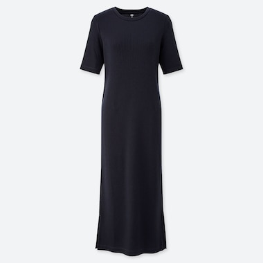 WOMEN RIBBED CREW NECK HALF-SLEEVE LONG DRESS, NAVY, medium