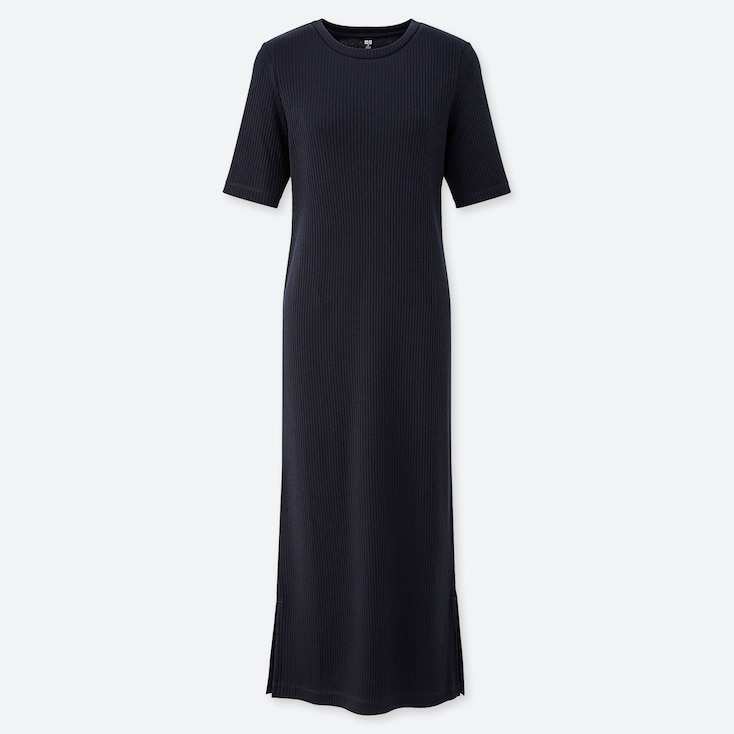 WOMEN RIBBED CREW NECK HALF-SLEEVE LONG DRESS, NAVY, large