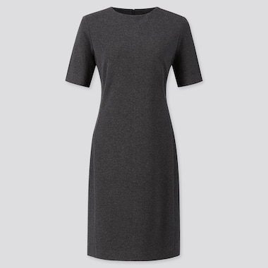 WOMEN PONTE SHORT-SLEEVE DRESS, DARK GRAY, medium