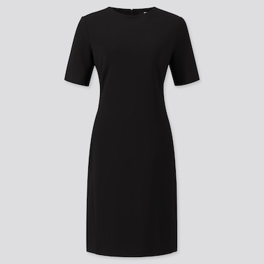 WOMEN PONTE SHORT-SLEEVE DRESS, BLACK, medium