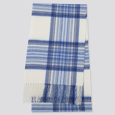 CASHMERE CHECKED SCARF, OFF WHITE, medium