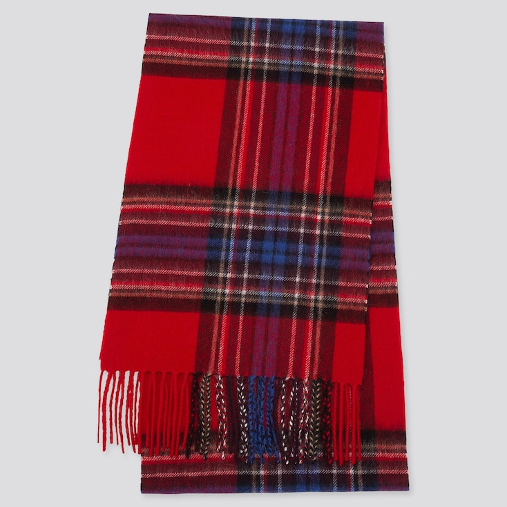 CASHMERE CHECKED SCARF, RED, large