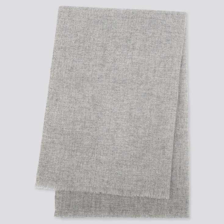 CASHMERE STOLE, LIGHT GRAY, large