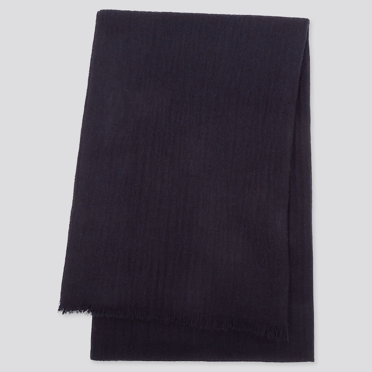 CASHMERE STOLE, NAVY, large