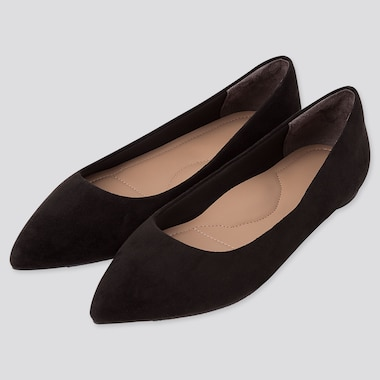 WOMEN POINTED FLAT SHOES, BLACK, medium
