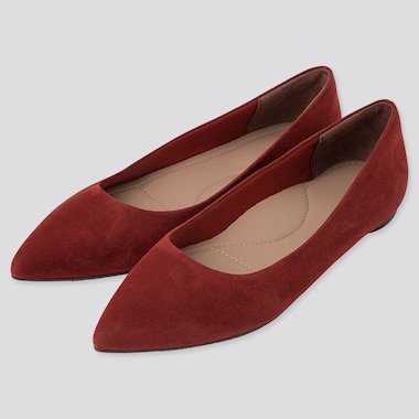 WOMEN POINTED FLAT SHOES, RED, medium