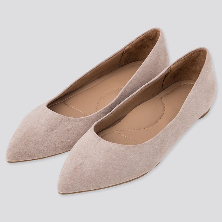 WOMEN POINTED FLAT SHOES, BEIGE, large