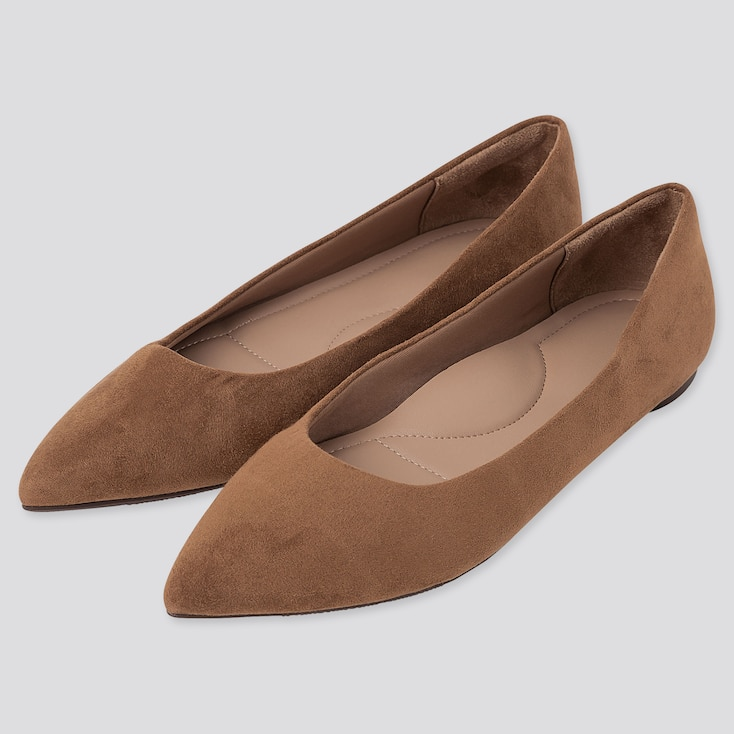 WOMEN POINTED FLAT SHOES, BROWN, large
