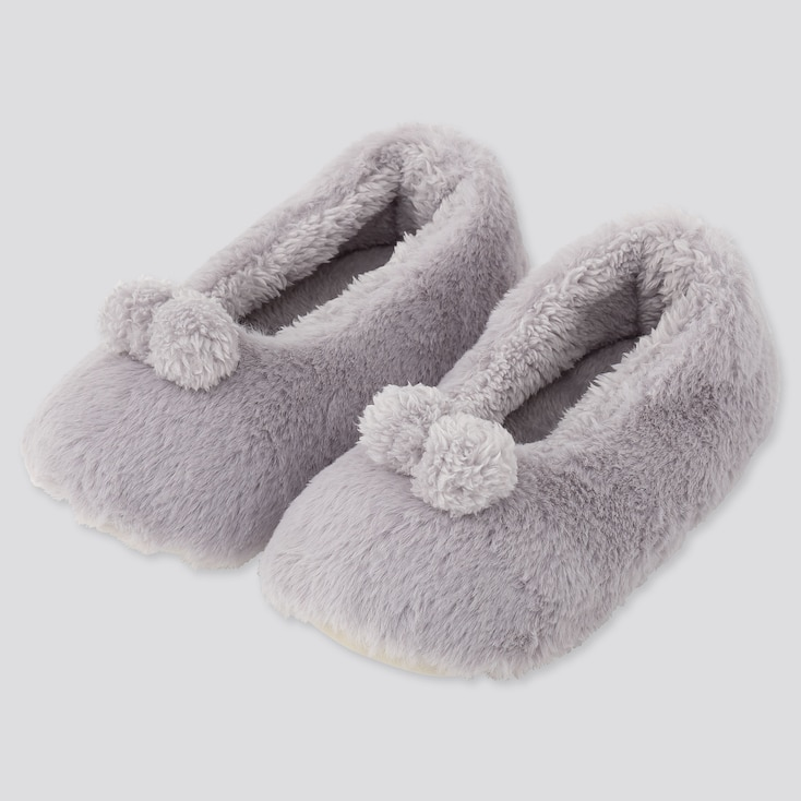 WOMEN FAUX SHEARLING BALLET SLIPPERS, GRAY, large