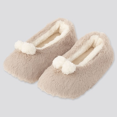 WOMEN FAUX SHEARLING BALLET SLIPPERS, NATURAL, medium